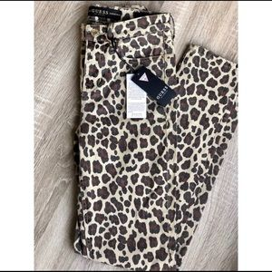 NWT! Guess 1981 leopard high rise skinny jeans